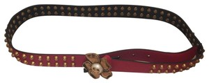 Gucci Gucci Studded Flower Buckle Belt in Hibiscus Red - SZ 85