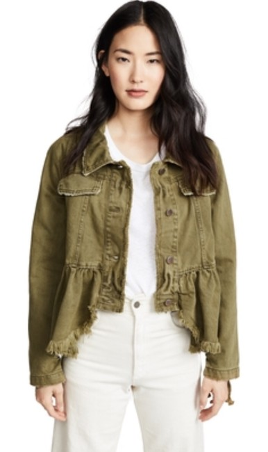 Free People Olive /Moss Womens Jean Jacket Image 2