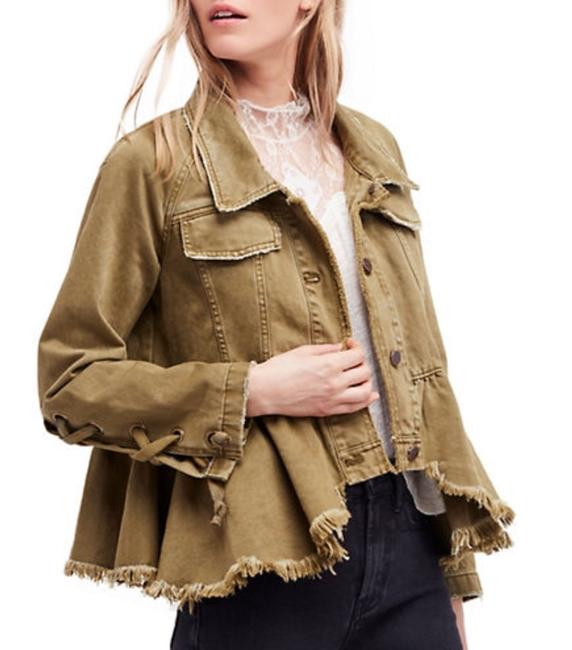 Free People Olive /Moss Womens Jean Jacket Image 3