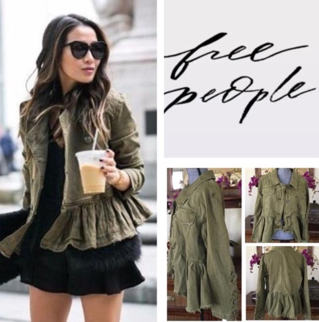 Free People Olive /Moss Womens Jean Jacket Image 4