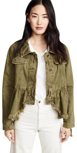 Free People Olive /Moss Womens Jean Jacket