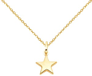 Top Gold & Diamond Jewelry 14k Yellow Gold Star Pendant 1.2mm Diamond Cut Cable Chain - 22''