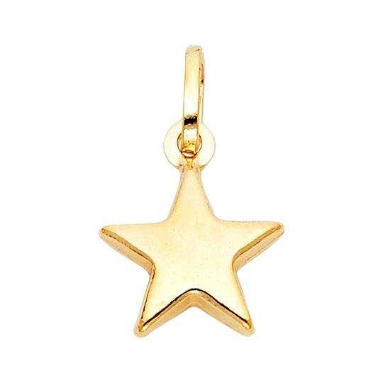 Top Gold & Diamond Jewelry 14k Yellow Gold Star Pendant 1.2mm Diamond Cut Cable Chain - 22'' Image 2