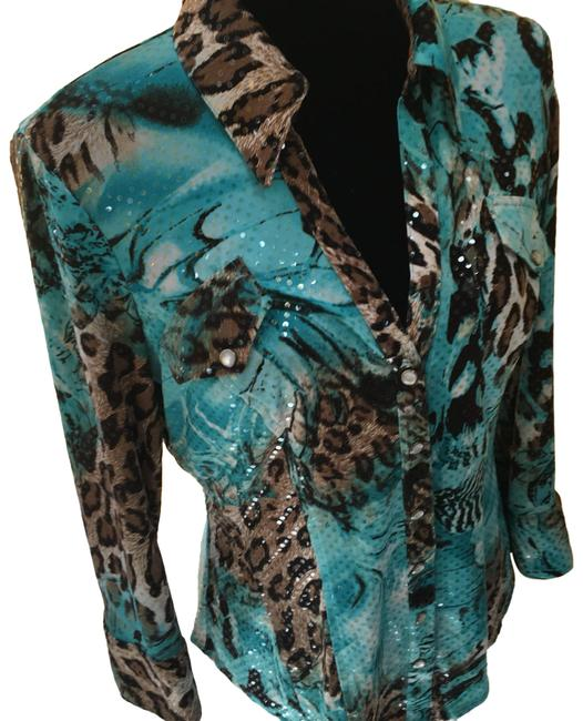 Preload https://img-static.tradesy.com/item/24260220/cache-blue-sequin-blouse-button-down-top-size-12-l-0-3-650-650.jpg