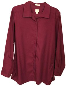 Chico's Blouse Sleeves Size 2 Button Down Shirt Magenta