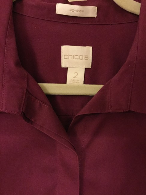 Chico's Blouse Sleeves Size 2 Button Down Shirt Magenta Image 2