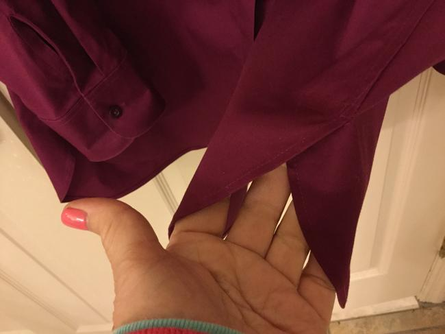 Chico's Blouse Sleeves Size 2 Button Down Shirt Magenta Image 4
