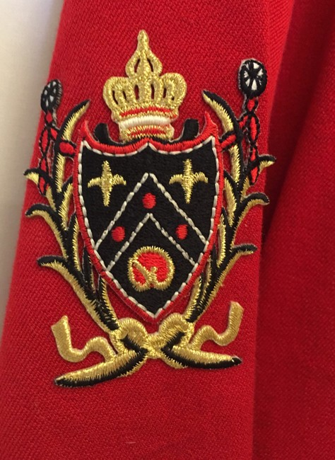 St. John Cotton Blend Royal Crest Logo Enamel Buttons Gold Anchor Details Red Jacket Image 5