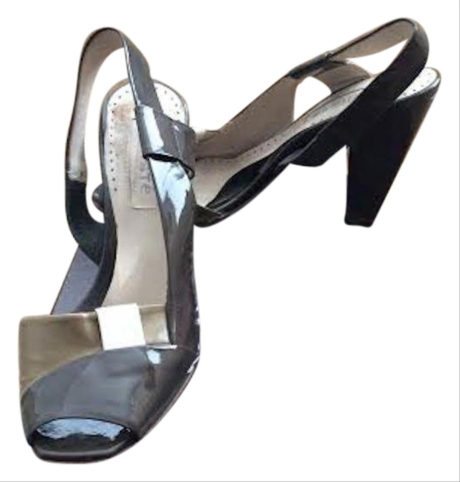 d4ca78774f9 Chloé Peep Toe Block Heel Slingback Patent Leather Color-blocking Grey  Beige Taupe Sandals Image ...
