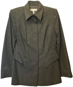 Escada Wool Blend Concealed Buttons Two Front Pockets Lined Grey Blazer