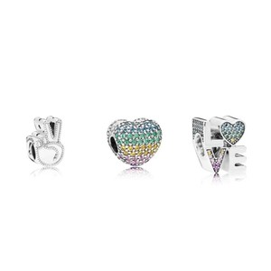 PANDORA Symbol of Peace Charm Open My Heart Pave Clip, Multi-Color Love Charm