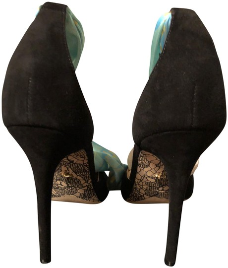 Cesare Paciotti Suede Sexy Unique Ankle Strap Silk Black Pumps Image 1