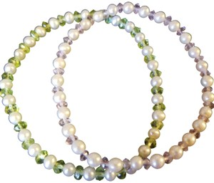 Unknown Set of 2 Freshwater Pearl and Gemstone Bracelets