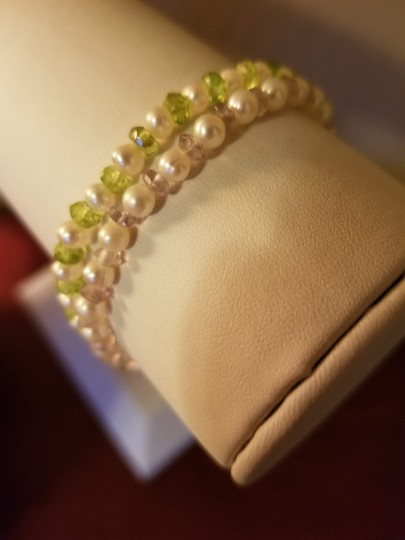 Unknown Set of 2 Freshwater Pearl and Gemstone Bracelets Image 2