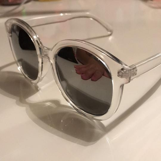 Clear Frame Sunglasses silver reflector clear frames Image 5