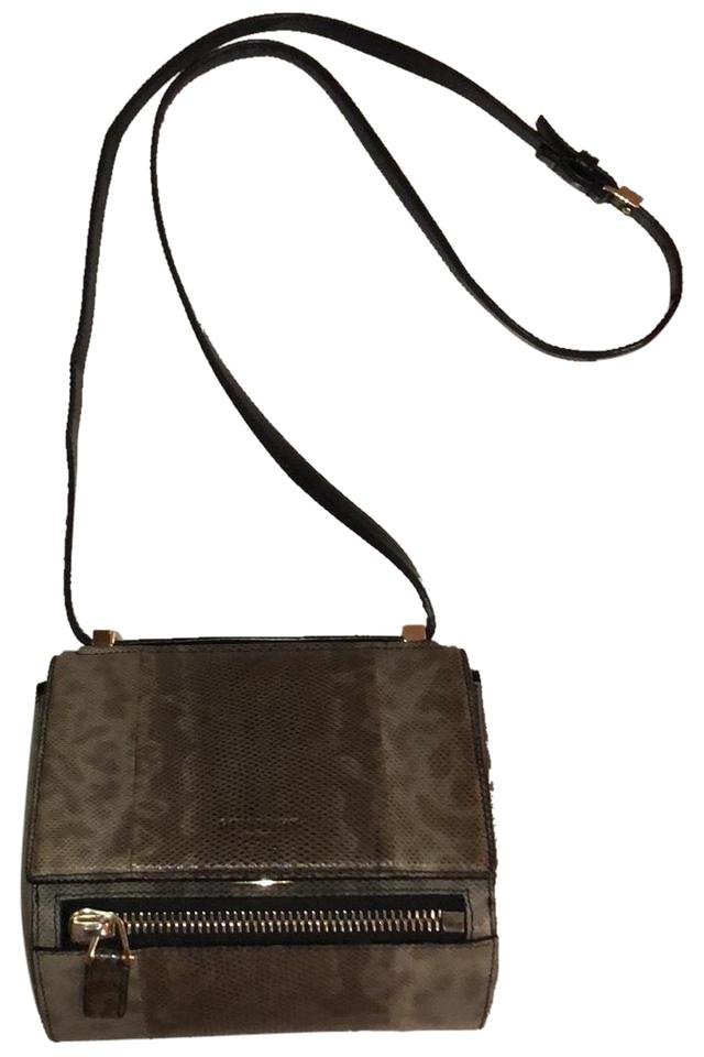de18c61ab6 Givenchy Pandora Box Mini Lizard. Grays and Black and Taupes Leather Cross  Body Bag