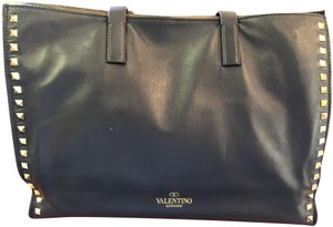 Valentino Studded Leather Shoulder Tote in Midnight Blue