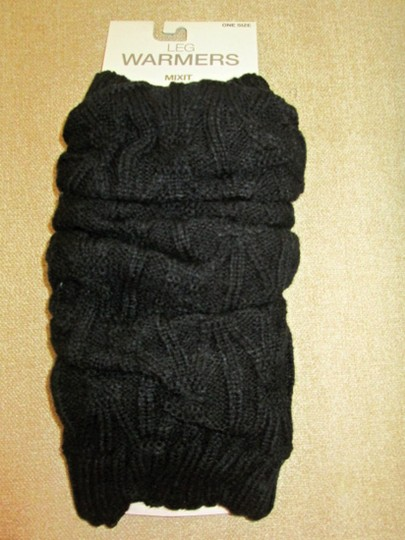 MIXIT Two NWT Women's Knit Leg Warmers by MIXIT One Size Moonrock & Black Image 1