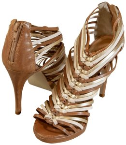 Bata Leather Strappy Brown and Gold Formal