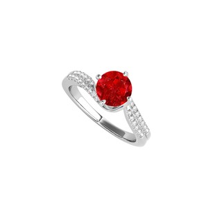 DesignerByVeronica Round Ruby and CZ Engagement Ring in 14K White Gold
