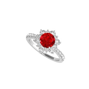 DesignerByVeronica White Gold Flower Shaped Ring with Round Ruby and CZ