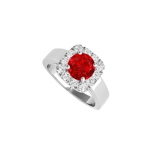 DesignerByVeronica Halo Engagement Ring with Ruby and CZ in 14K White Gold