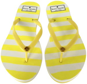 Kate Spade Flip Flops White Yellow Flats