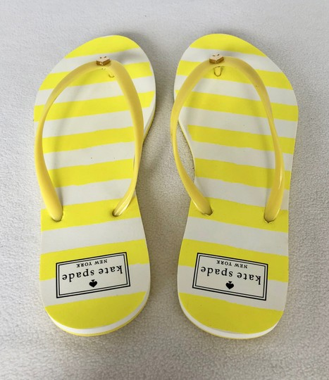 Kate Spade Flip Flops White Yellow Flats Image 1