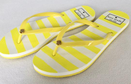Kate Spade Flip Flops White Yellow Flats Image 2