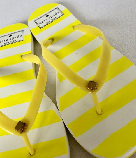 Kate Spade Flip Flops White Yellow Flats Image 3