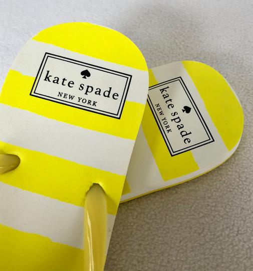 Kate Spade Flip Flops White Yellow Flats Image 4