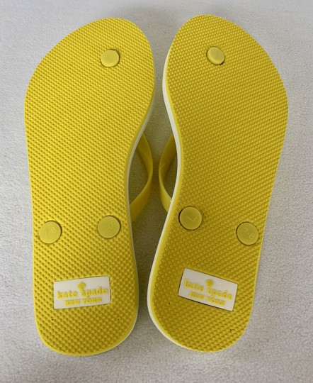 Kate Spade Flip Flops White Yellow Flats Image 5