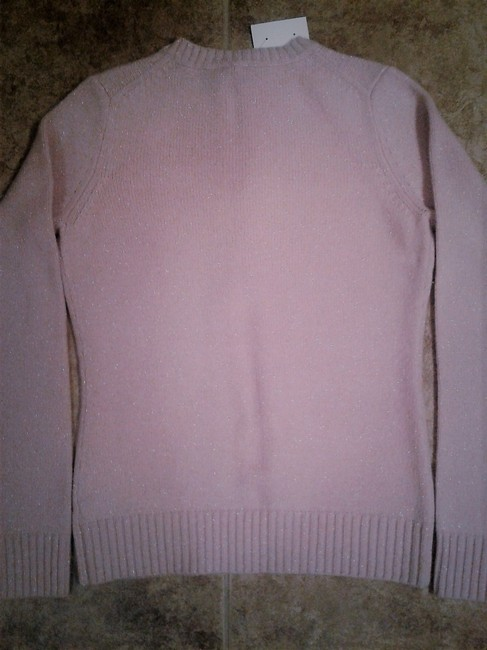 Barneys New York Brand Softest Cashmere Silver Sparks Ribbed Trim Made In China Sweater Image 2
