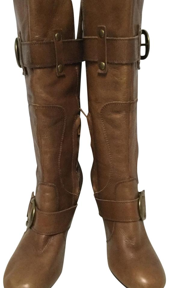 6d4472fad5b70 Arturo Chiang Brown Tall Leather Strap Boots Booties Size US 8.5 ...