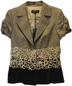 Escada And Cream Silk Blend Short Sleeve Lace Detail New With Tags Brown Blazer