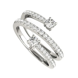 DesignByVeronica Half Carat CZ Round Spiral Open End Ring in 925 Silver