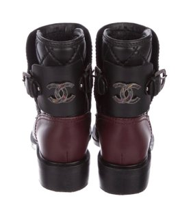 Chanel black 2 toned (burgandy) Boots