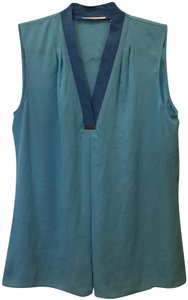 Tahari V-neck Sleeveless Metal Accent New With Tags Top Turquoise