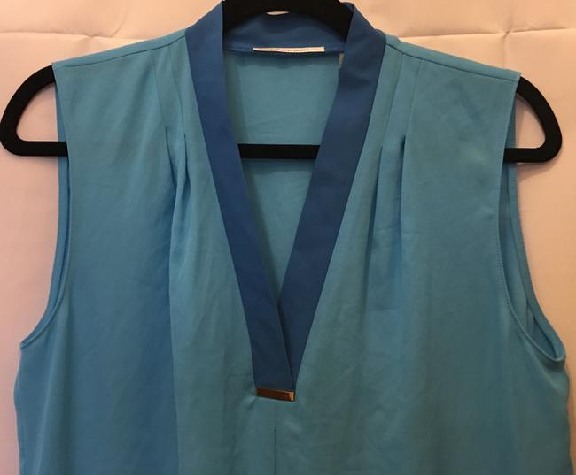 Tahari V-neck Sleeveless Metal Accent New With Tags Top Turquoise Image 1