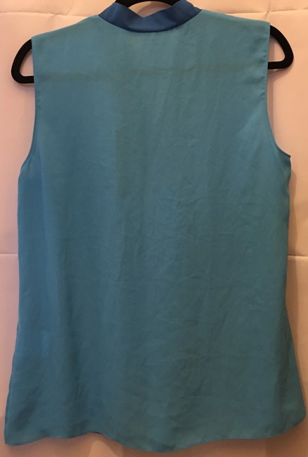 Tahari V-neck Sleeveless Metal Accent New With Tags Top Turquoise Image 6