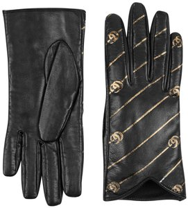 Gucci Leather Gloves with Double G Strip - Size 7.5