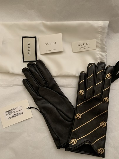 Gucci Leather Gloves with Double G Strip - Size 7.5 Image 3
