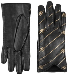 Gucci Leather Gloves with Double G Strip - Size 8