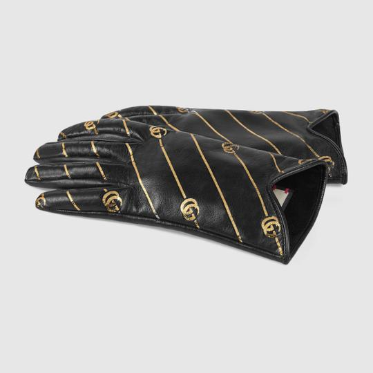 Gucci Leather Gloves with Double G Strip - Size 8 Image 1