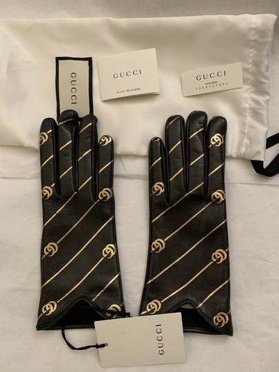 Gucci Leather Gloves with Double G Strip - Size 8 Image 3
