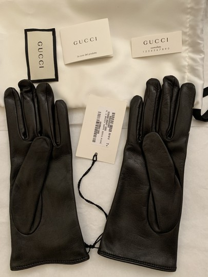 Gucci Leather Gloves with Double G Strip - Size 8 Image 4