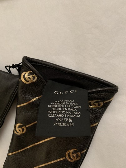 Gucci Leather Gloves with Double G Strip - Size 8 Image 5