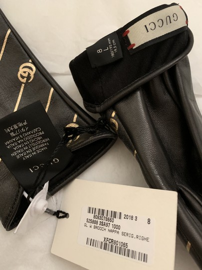 Gucci Leather Gloves with Double G Strip - Size 8 Image 6