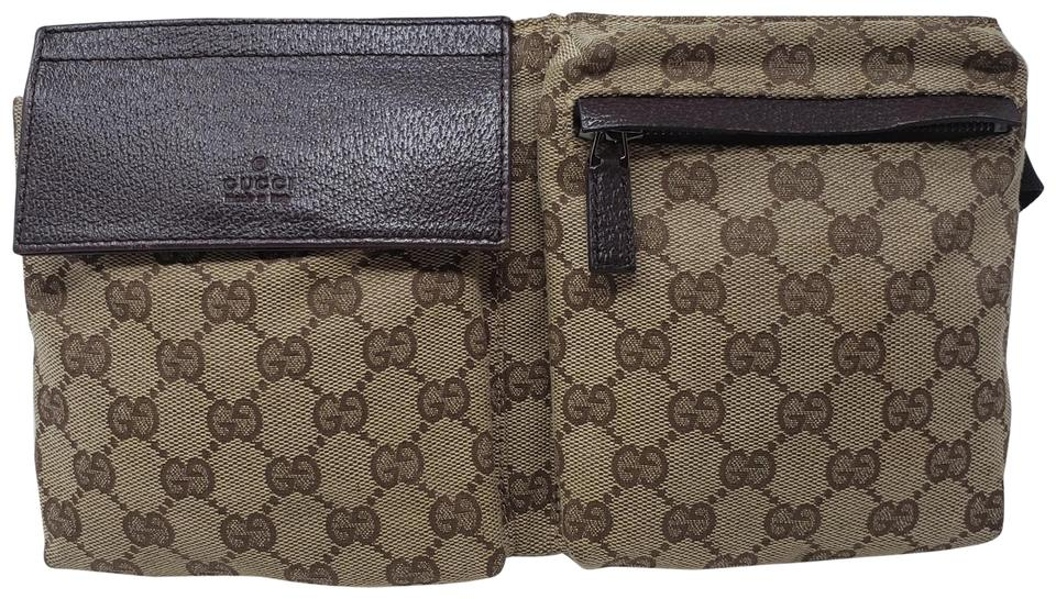 e36c65ba6627 Gucci Brown Beige Gg Web Canvas Belt Bag Wallet - Tradesy