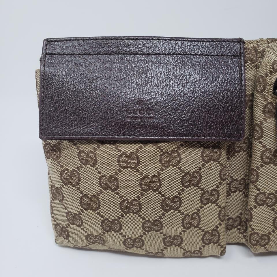 8df7cb4553d Gucci Brown Beige Gg Web Canvas Belt Bag Wallet - Tradesy